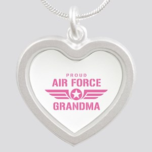 Proud Air Force Grandma W [pink] Silver Heart Neck